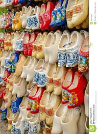 traditional dutch clogs wooden shoes in souvenir store amsterdam