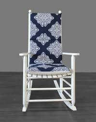 Navy Patterned Rocking Chair Pad
