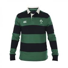 ireland striped rugby jersey l s green navy casual from irfu uk