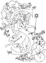 Letter S Alphabet Fairy On A Flower Garden Coloring Pages