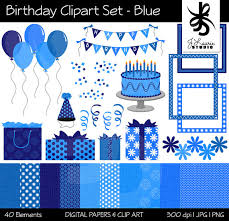 Birthday Clipart & Digital Paper Set Blue Girl Celebration Party Scrapbooking Card Making Balloons Banners Cake Instant Download Clip Art
