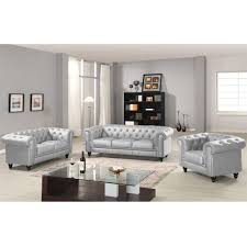 chesterfield canape chesterfield 2 places capitonné argent
