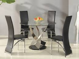 dining room round glass table set with regard to residence stone
