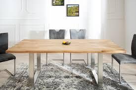 table à manger design en bois de chêne huilé et acier chrome wotan