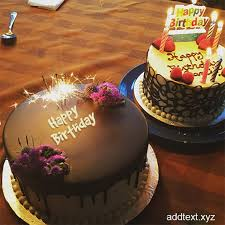 Write name on Fireworks Candles Chocolate Cake For Happy Birthday