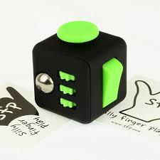 SFP Fidget Cube Black Green Noir Vert Free Bag