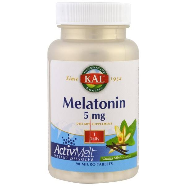 Kal Melatonin 5 mg Dietary Supplement - Vanilla Mint, 90 Tablets