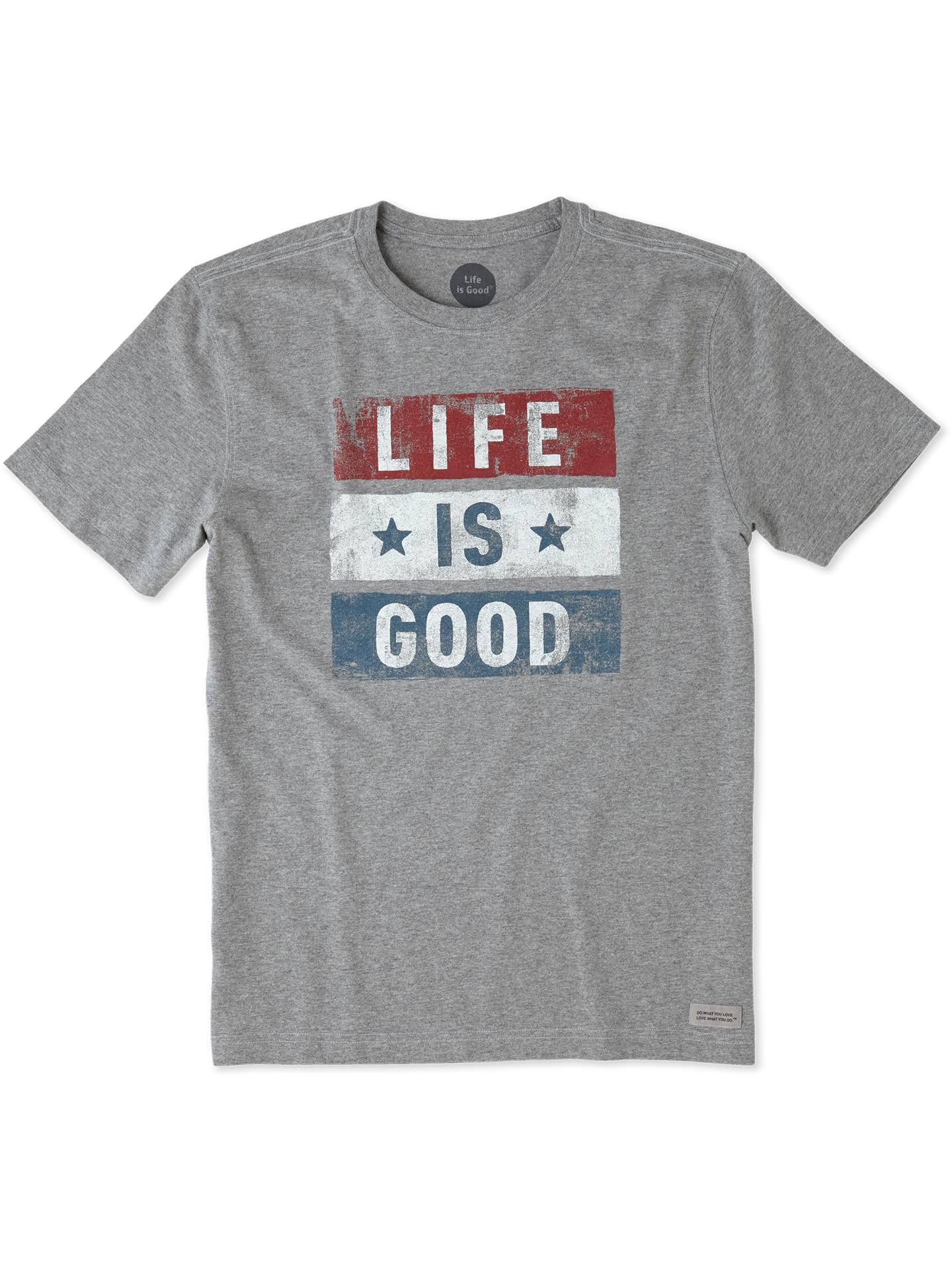 Life Is Good Men's Crusher Tee - Stars and Stripes LIG, Heather Gray, Medium
