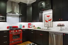 Black Red Kitchen Entrancing Interior Set With And Decor