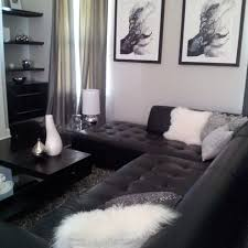 Black Couch Grey Walls Living Room
