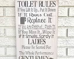 Toilet Rules Sign Bathroom Washroom Wood