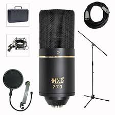 MXL 770 Professional Studio Condenser Mic Stand Pop Filter XLR Cable Bundle
