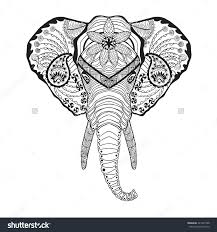 Elephant Head Adult Antistress Coloring Page Stock Vector Throughout