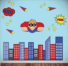 superhero wall stickers cartoon for bedrooms nice room design