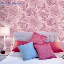 romantische lila rosa tapete schlafzimmer wand personalisierte dekoration tapete