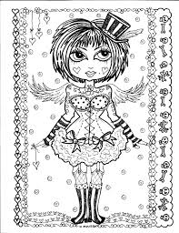 5 Pages Instant Download Coloring Gothic Angels Color Book Art Digital Digi Stamp Goth