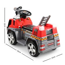 Buy Kids Electric Ride On Fire Truck Red & Grey Online At Toy Universe