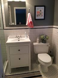 Ikea Hemnes Linen Cabinet Dimensions by Small Bathroom With Ikea Sink And Hemnes Cabinet More Bathroom