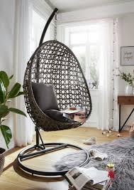 hängesessel mauritius grau braun 95x199x63 cm inkl polster und gestell wohnzimmer garten