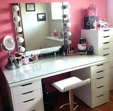 Mirrored Desk Ikea Full Size White Makeup Vanity Vanities Desk