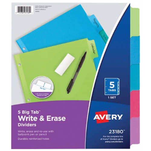 Avery Big Tab Write and Erase Dividers - 5pcs