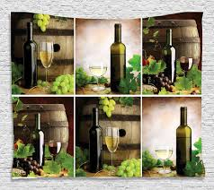 Red And White Wine Barrels Bottles Glasses Grapes Leaves