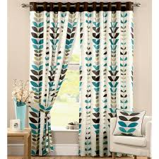 White And Blue Fabric Primitive Curtains For Living Room