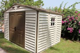 Lifetime 10x8 Plastic Shed by Woodside 10 X 8 Vinyl Storage Shed With Foundation And Three Fixed
