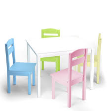 Costway 5 Piece Kids Wood Table Chair Set Activity Toddler Playroom  Furniture Colorful