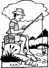 This Coloring Page Features A Man Fishing In Lake There Is Large Cloud