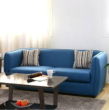 Scandinavian Minimalist Modern Blue Beanbag Style Living Room And Apartment Size Sectional Sofa With Chaise