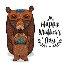Happy Mothers Day Card In Cartoon Style With Bears Greeting For Mom Cute