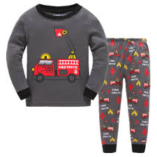 Boys Pajamas Fire Truck Childrens Pjs Long Sleeves Toddler Cotton ...