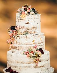 WEDDING CAKE Rustic Naked Wedding Cake With Flowers And Berries