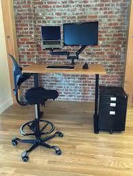 Multiple Monitor Standing Desk by Jarvis Bamboo Standing Desk J2 Dual Monitor Arm Sidekick File