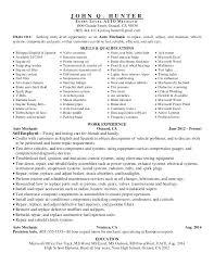 Automotive Technician Resume Template Auto Mechanic Example