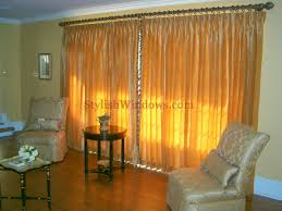 NYC Silk Drapes On Decorative Hardware For Large Living Room Sliding Doors In Long Island