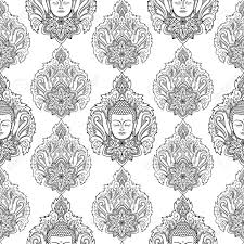 Buddha Head With Lotus Seamless Pattern Spiritual Wallpaper Black And White Coloring Page Stock