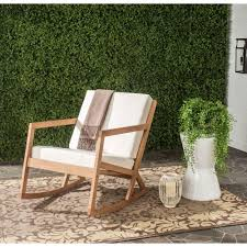 Safavieh Vernon Teak Brown Outdoor Patio Rocking Chair With Beige Cushion