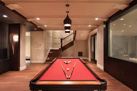 Basement Accent Wall Ideas Family Room Eclectic With Crown Molding Game Dark Stained Wood
