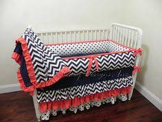 Coral And Navy Baby Bedding by Crib Bedding Set Navy Coral Ruffled Bumperless Ikat Coral And Navy