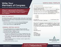 Information Regarding Writing To Congressional Members