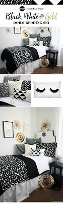 Black White And Gold Dorm Room Trendy Bedding Decor Decorating