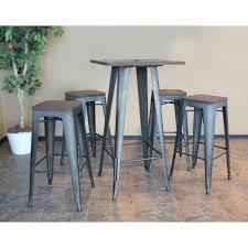 100 Loft Style Home Ameri Rustic Gunmetal Bar Table Set With Dark Elm