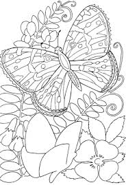 Click To See Printable Version Of Butterfly Among Flowers Coloring Page
