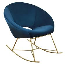 100 Navy Blue Rocking Chair Nolan Contemporary Velvet By TOV Furniture