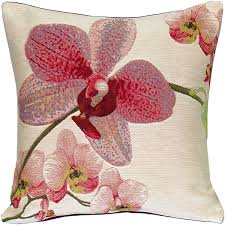 Pink Orchids Floral French Tapestry Throw Pillow 19x19 from Pillow