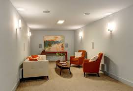 modern living room with wall sconce flush light in seattle wa in