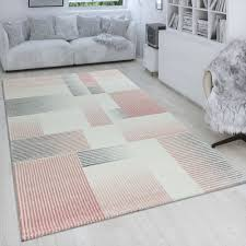 wohnzimmer teppich karo muster pastell rosa