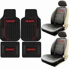 100 Elite Truck Seats New 8pc GMC Style Logo Sideless Seat Covers Rubber Floor Mat